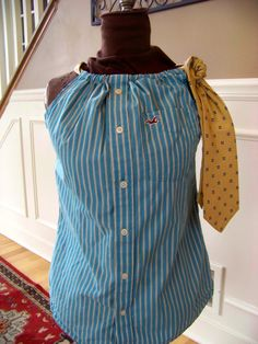upcycled men's dress shirt with neck tie straps by 2inarow on Etsy, $30.00