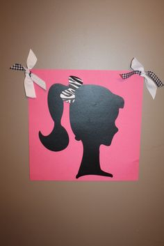 Pin the bow on barbie game!Need 1poaster board black for silhouette pink poster board  for background 1white bows and 1black Sharpe for zebra bows!