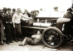 Captain Malcolm Campbell (in plus fours) with his 350hp Sunbeam, at the Skegness Motor Races - Skegness - England - 9 June 1925