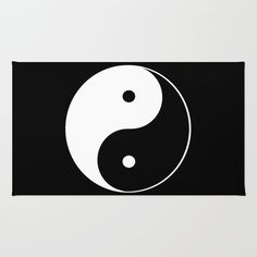 Black and White Yin Yang with Black Background Area & Throw Rug by Tina A Stoffel