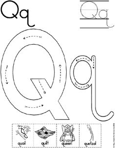 Letter Qq path of motion tracing page