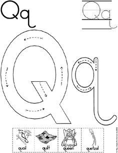 Alphabet Letter Q Worksheet | Standard Block Font | Preschool Printable Activity