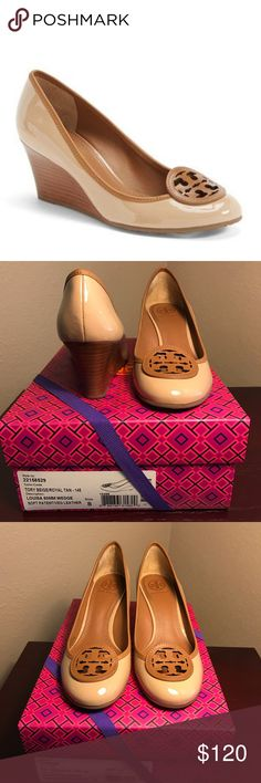 Tory Burch Louisa 60mm Nude Tan Wedges 8 100% authentic Tory Burch Louisa wedges in patent nude-colored leather. 60mm height. Literally worn for one workday. No trades. Thanks! Tory Burch Shoes Wedges