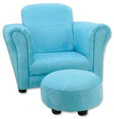 Turquoise Ultrasuede Club Chair & Ottoman