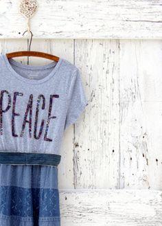 5132076757 Peace Boho Maxi Dress Upcycled blue dress by wearlovenow on Etsy