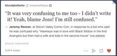 I wonder if he actually said that. If so, I'm going to have to watch Firefly about 300 more times to remind myself that Joss Whedon is amazing despite AoU.