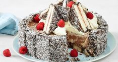 This creamy Coconut Cheesecake is made with an irresistible lamington finger base. A must for your Australia Day entertaining. Low Fat Cheesecake, Frozen Cheesecake, Coconut Cheesecake, Cheesecake Recipes, Dessert Recipes, Cupcake Recipes, Aussie Food, Australian Food, Australian Recipes