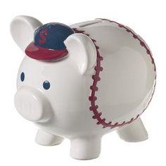 Hall of Fame Coin Bank - Ceramic All Star Baseball Piggy Bank Braves Game, Baseball Nursery, Money Bank, Cute Piggies, Financial Planning, Teaching Kids, All Star, Piggy Banks, Stars