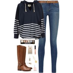 A fashion look from October 2014 featuring Band of Outsiders sweatshirts, J Brand jeans and Tory Burch boots. Browse and shop related looks.
