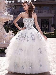 Landybridal  Ball Gown Strapless Floor Length Tulle Ivory Wedding Dress