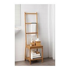 Hack paint color. Helps to save room because you get both a chair and a towel rack in the same space. Bamboo is a hardwearing natural material.
