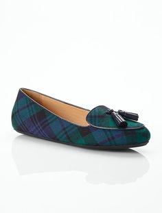 Talbots - Zany Black Watch Plaid Tassel Loafers