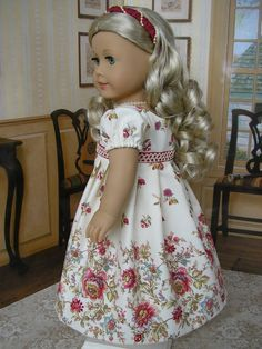American Girl - border print dress, with headband for Caroline, Regency. $99.00, via