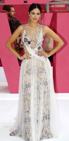 "Eiza Gonzalez in Marchesa attends the ""Baby Driver"" London premiere. #bestdressed"