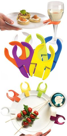 Perfect for parties, these cool clips attach wineglasses to plates, giving guests a free hand to use on food