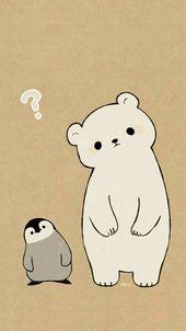 polar bear penguin drawing in cute animal drawings, cute - polar bear cute drawing Cute Disney Wallpaper, Kawaii Wallpaper, Cute Cartoon Wallpapers, Wallpaper Iphone Cute, Animal Wallpaper, Polar Bear Wallpaper, Spring Wallpaper, Emoji Wallpaper, Pastel Wallpaper