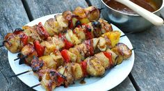 Weave thick, smoky strips of bacon around chicken, pineapple, and veggies on a kabob you can grill, then slather in sweet, sticky Hawaiian sauce.