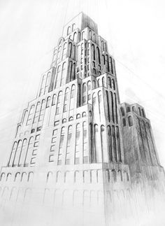 Pencil drawing of a building in perfect perspective. 1 Point Perspective Drawing, Three Point Perspective, Perspective Art, Cityscape Drawing, Building Drawing, Building Photography, Perspective Photography, Art Courses, Layout