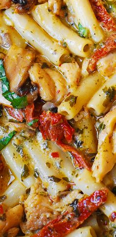 Mushroom Chicken Pasta with creamy Pesto sauce and sun-dried tomatoes - Perfect Summer Recipe!