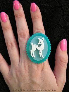 Doe-Eyed Deer Ring - Adjustable - Acrylic Laser Cut (C.A.B. Fayre Original Design)