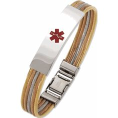 Tri-Color Gold Cable Medical Id Alert Bracelet for a Women 8 inches