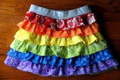 Tutorial: Rainbow ruffle skirt for little girls   Sewing   CraftGossip.com