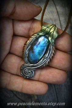 Labradorite gemstones clay pendants queen crystal bohemian pixie spirit elven forest fairy tales magic mystic