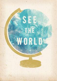 See the World watercolour globe - Art Print