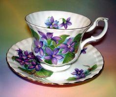 Striking Royal Albert Purple Violet Tea Cup and Saucer Set
