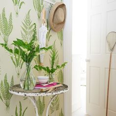 Country hallway with leaf design wallpaper | Woodland design room ideas | design | PHOTO GALLERY | Housetohome.co.uk