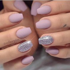 Lavender and silver nails