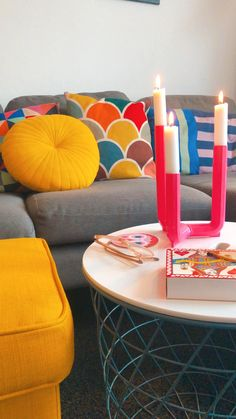 Colourful House | Bright and Bold Interiors | Colourful Interiors Bright Homes, House Colors, Colorful Interiors, Candles, Candy, Candle Sticks, Candle
