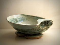 "Maggie Williams - Sea-bowl - ""Green Shell"" - High-fired Stoneware - 460mm wide 2019 Serving Bowls, Stoneware, Decorative Bowls, Shells, Ceramics, Sea, Tableware, Green, Bowls"