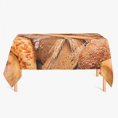 Tafelkleed Brood | Fleur je keuken op met dit weerbestendige tafelkleed bestaande uit geweven linnen met PVC.   #tafelkleed #keukentextiel #keuken #kleed #pvc #print #opdruk #tafel #weerbestendig #brood #graan #voedsel #eten