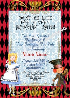 ALICE IN WONDERLAND inspired Tea Party Invitation Fairytale Party Custom Wording Topsy Turvy by GigiBabi on Etsy