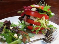 Tomato Stack Salad - Food Plating - Culinary Art - Food Art - Food Styling - Food Serving - Food Presentation - Culinary - Culinary Presentation - Feng Shui Design Your Events with a Professional Feng Shui Consultation at www.DeniseDivineD.com/feng-shui-design