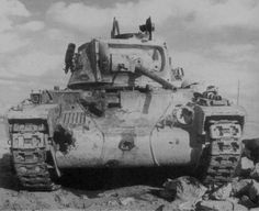 British infantry tank Matilda II . The tank was hit with four 88-mm shells and several smaller caliber shells District of Tobruk, December 1941.