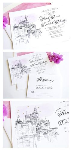 Disneyland Castle Inspired Invitations Package Set Of 10