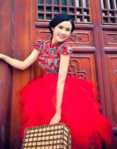 Bride wedding dress red short cheongsam chinese retro dress