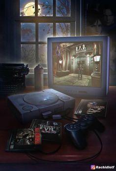 "Game art 639933428285000727 - ""Wakka Wakka Wakka"": Amazing Nostalgic Video Game Artworks By Rachid Lotf Source by froeligerchristophe Retro Video Games, Video Game Art, Retro Games, Digital Foto, Evil Games, Mundo Dos Games, Resident Evil Game, Flipper, Star Fox"