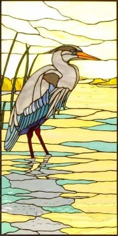 Nice method for reflecting heron in water Bel metodo per riflettere l'airone in acqua Stained Glass Mosaic, Glass Painting, Glass Birds, Painting, Art, Stained Glass Birds, Glass Art