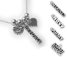 Military Mom Necklace, this is a beautiful sterling silver USA heart flag, MOM charm and Army - Navy - Air Force - Marines - OR - Coast Guard Navy Air Force, Air Force Mom, Navy Life, Navy Mom, Mom Jewelry, Jewelry Making, Marine Mom, Military Wife, Army & Navy