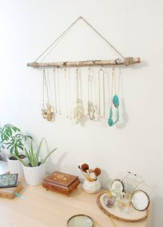 anthropologie-inspired tree branch jewelry display