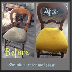 Upcycle a shrunken sweater into upholstery for a chair seat.