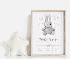Personalisierte Babyposter Geburtsposter Kinderzimmer Geschenk Baby Poster, Teddy Bear, Etsy, Frame, Animals, Decor, Invitations, Birth, Creative