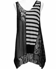 BKE Boutique Lace Tank Top - More sewing inspiration - great mix of fabrics!
