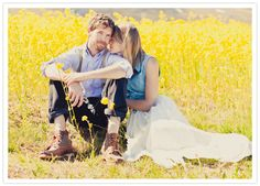 Gorgeous field of yellow flowers for an engagement shoot in Iceland!