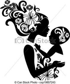 Vetor - bonito, mãe, silueta, bebê, funda, floral, Ilustração - estoque de ilustração, ilustrações royalty free, banco de ícone clip arte, banco de ícones clip arte, fotos EPS, fotos, gráfico, gráficos, desenho, desenhos, imagem vetorial, arte vetor EPS.