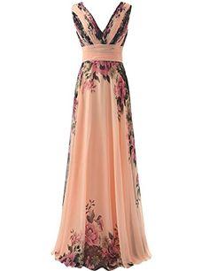 JAEDEN Long Vneck Flower Printed Bridesmaid Dresses Chiffon Evening Gowns Flower Print US20W ** ** AMAZON BEST BUY ** #MaternityDresses