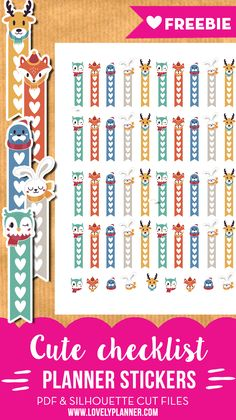 Free Printable Checklist Planner Stickers for (Erin Condren Life Planner, Happy Planner...) with cute winter animals - Free PDF and silhouette cut file from Lovely Planner